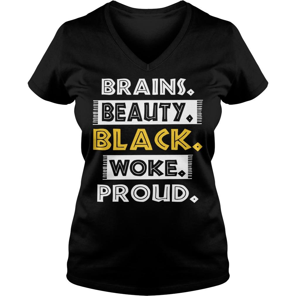 Dashiki Black History Brains Beauty Black Woke Proud V Neck