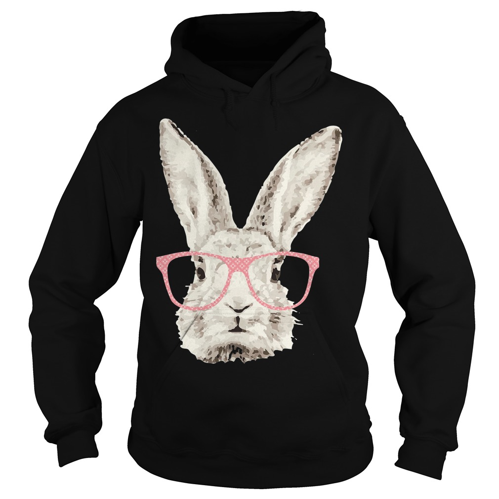Easter Bunny Rabbit Pink Glasses Funny Hipster Hoodie