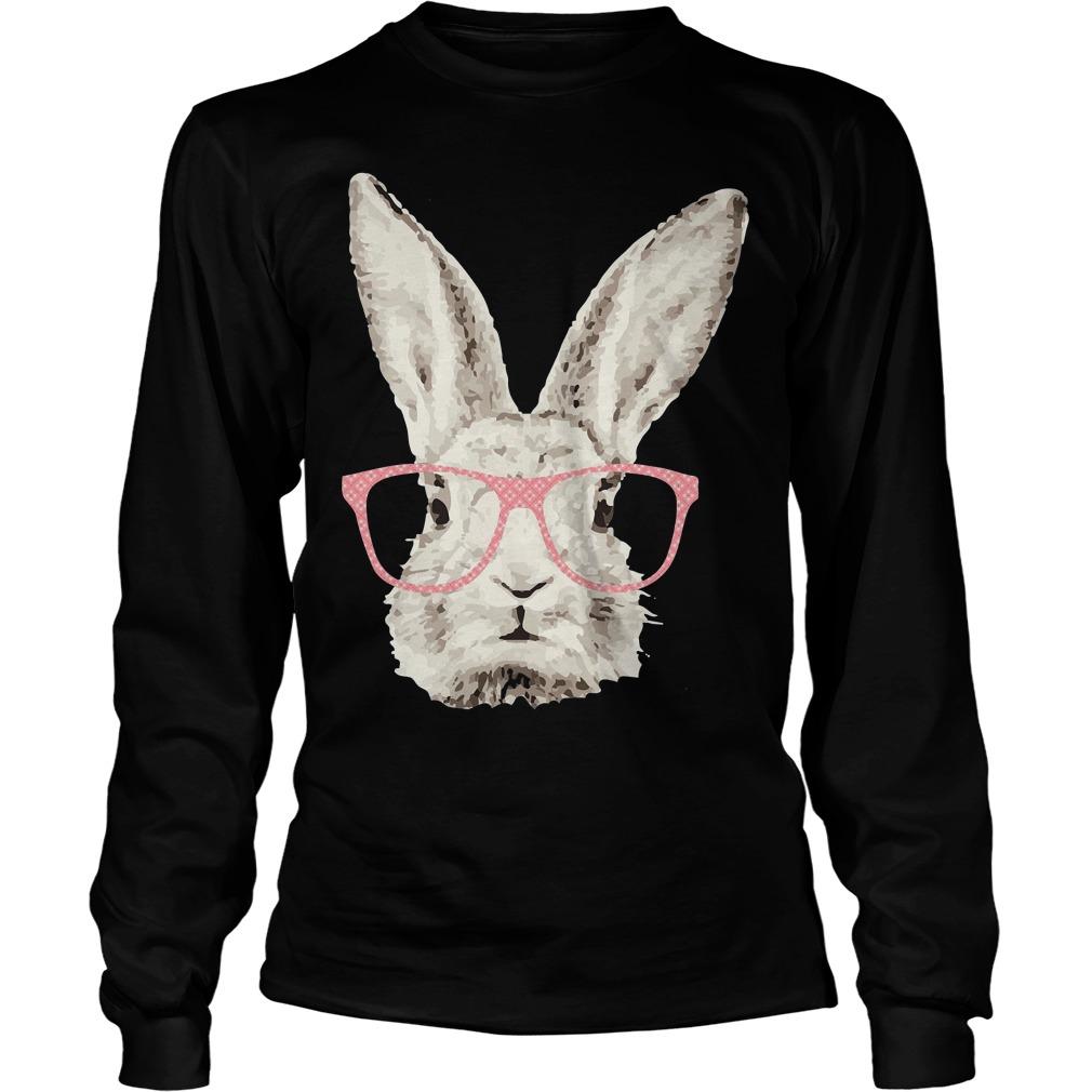 Easter Bunny Rabbit Pink Glasses Funny Hipster Longsleeve