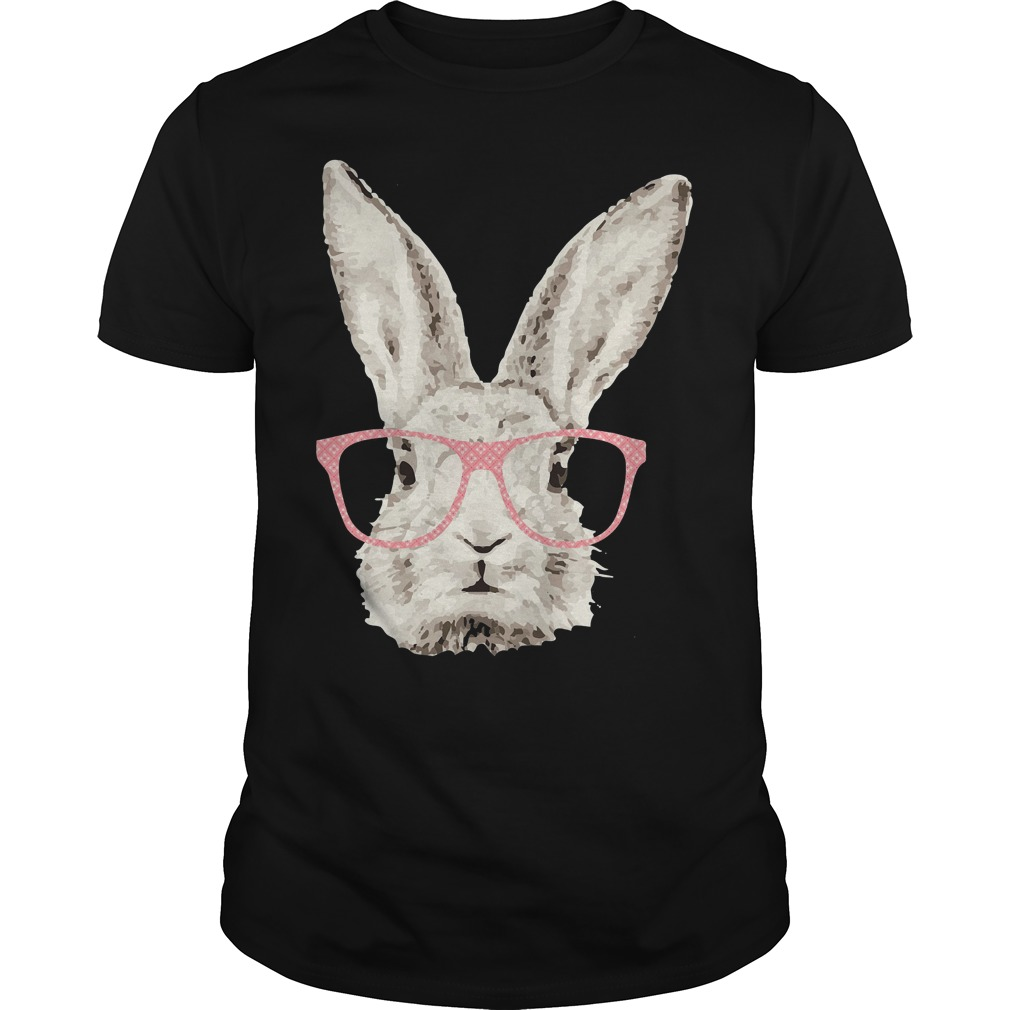Easter Bunny Rabbit Pink Glasses Funny Hipster Shirt