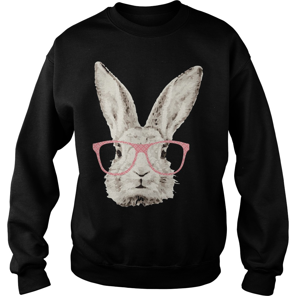Easter Bunny Rabbit Pink Glasses Funny Hipster Sweater