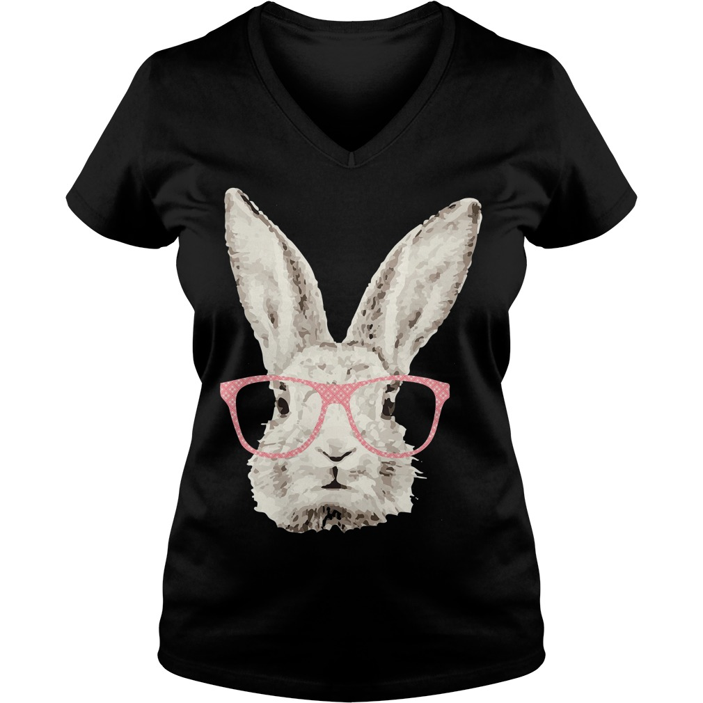Easter Bunny Rabbit Pink Glasses Funny Hipster V Neck
