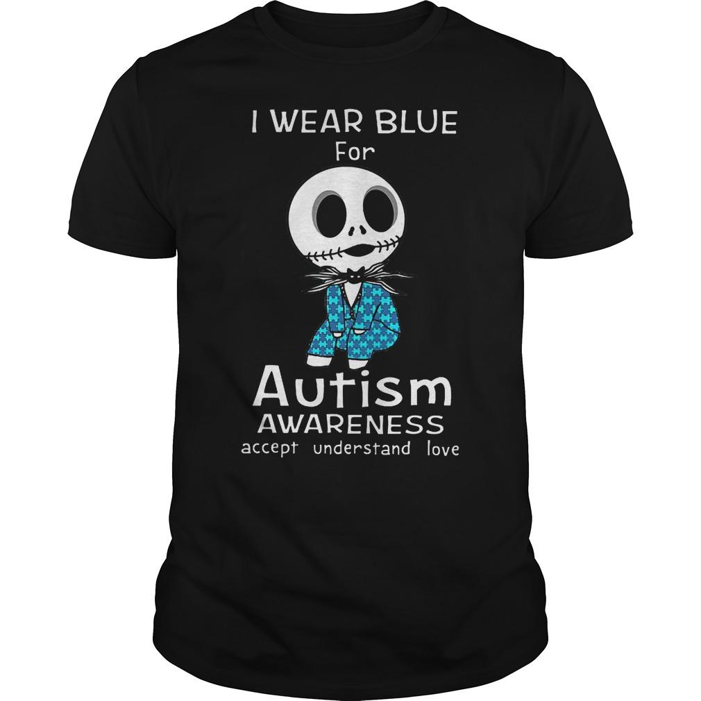 Jack Skellington I Wear Blue For Autism Shirt