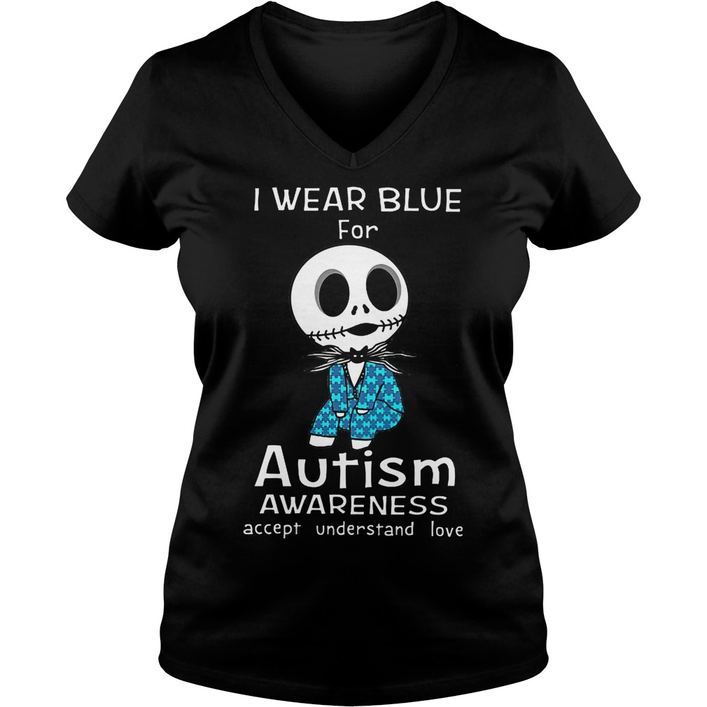 Jack Skellington I Wear Blue For Autism V Neck