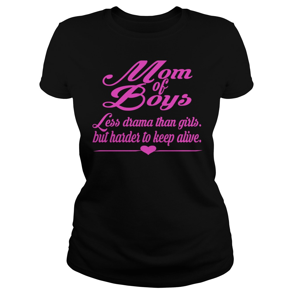 Mom Of Boys Pink Less Drama Than Girls But Harder To Keep Alive Pink Text Ladies