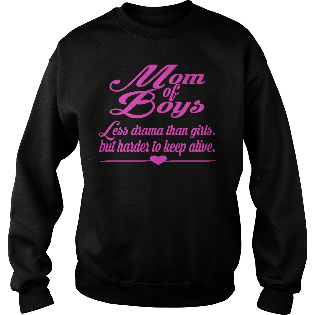 Mom Of Boys Pink Less Drama Than Girls But Harder To Keep Alive Pink Text Sweater