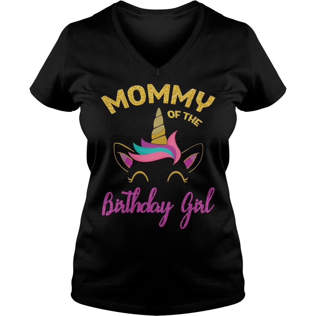 Mommy Of The Unicorn Birthday Girl V Neck
