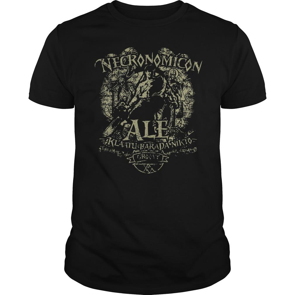 Necronomicon Ale Klaatu Barada Nikto Groovy Shirt