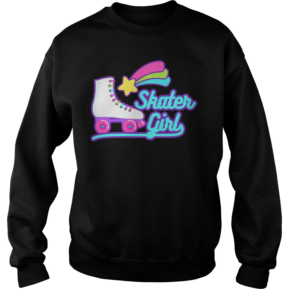 Retro Skater Girl Roller Skating Sports Hobby Sweater