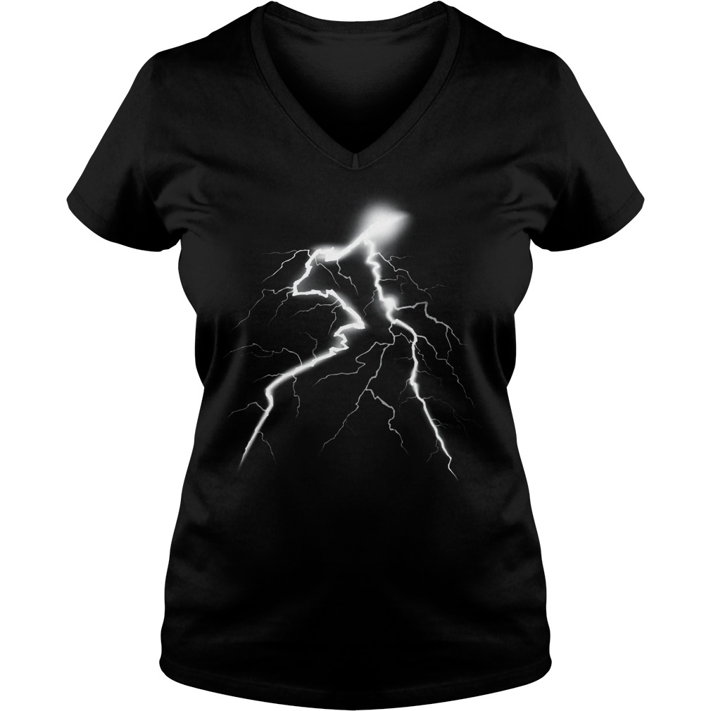 Thunder Lightning Bolt Storm Strikes Glow V Neck