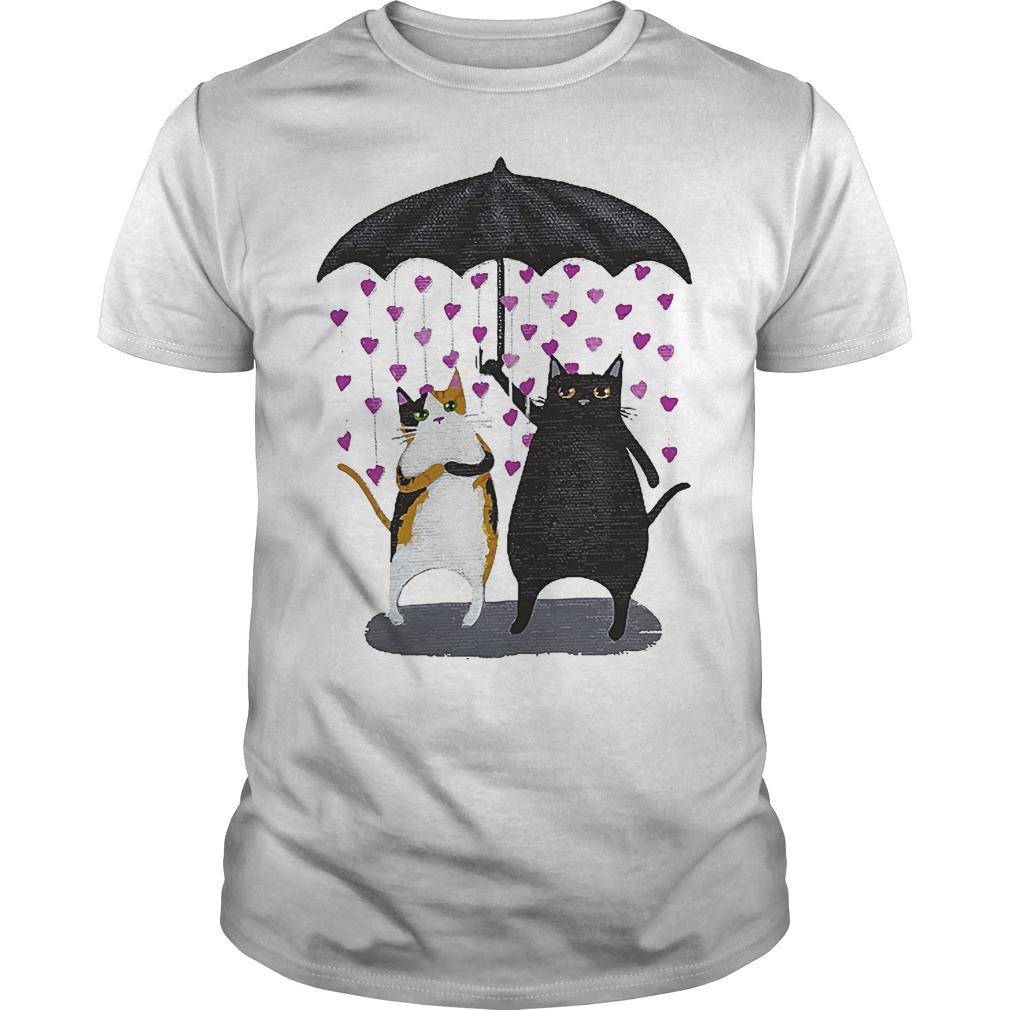 Cat Under Heart Rain Umbrella Shirt