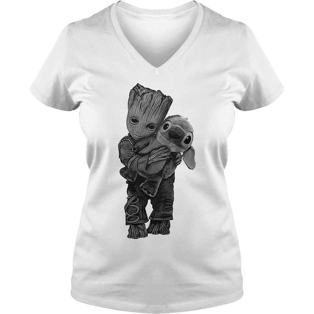Baby Groot Hug Stitch V Neck