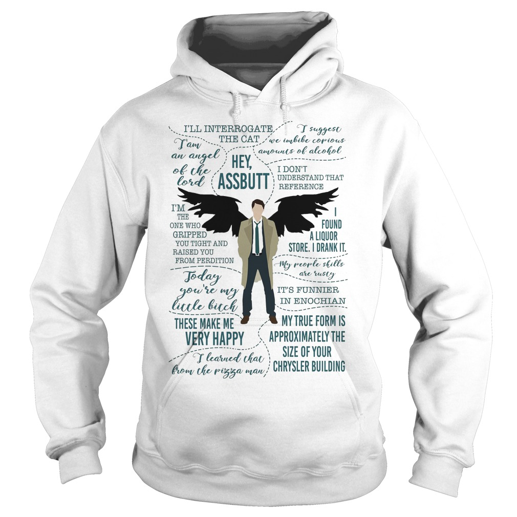 Castiel Supernatural Ill Interrogate The Cat Hey Assbutt Hoodie