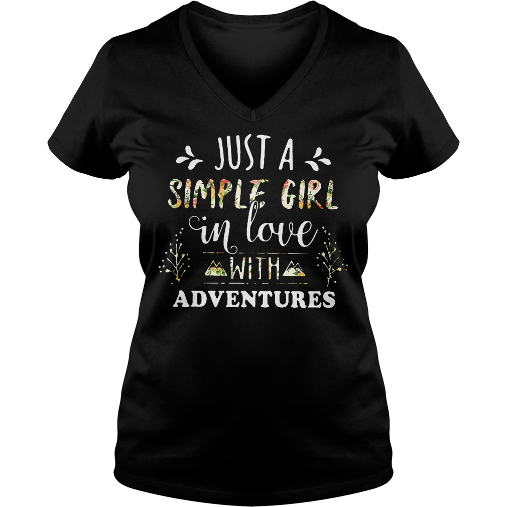 Just A Simple Girl In Love With Adventures V Neck