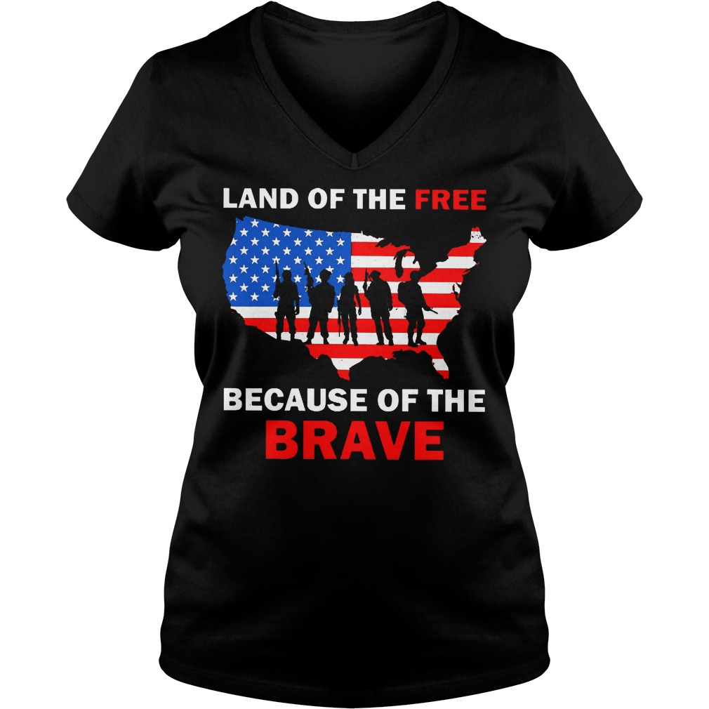 Land Of The Free Because Of The Brave V Neck
