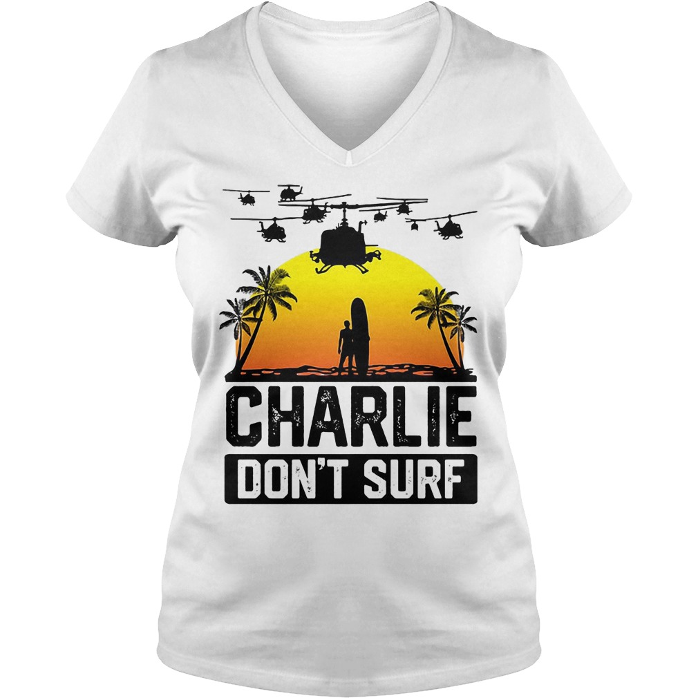 Viet Cong Charlie Don't Surf Vietnam War V Neck