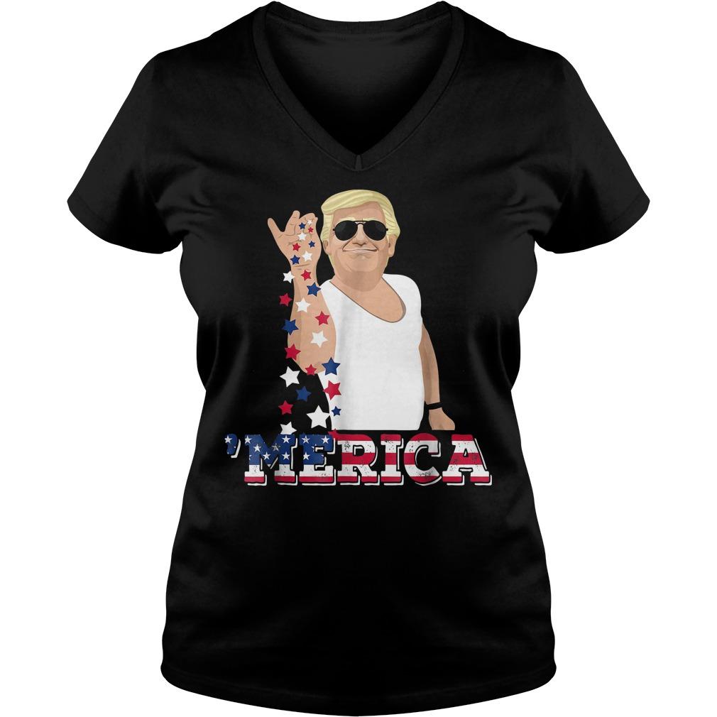 4th Of July Donald Trump Bae Salt Freedom Ladies V-Neck