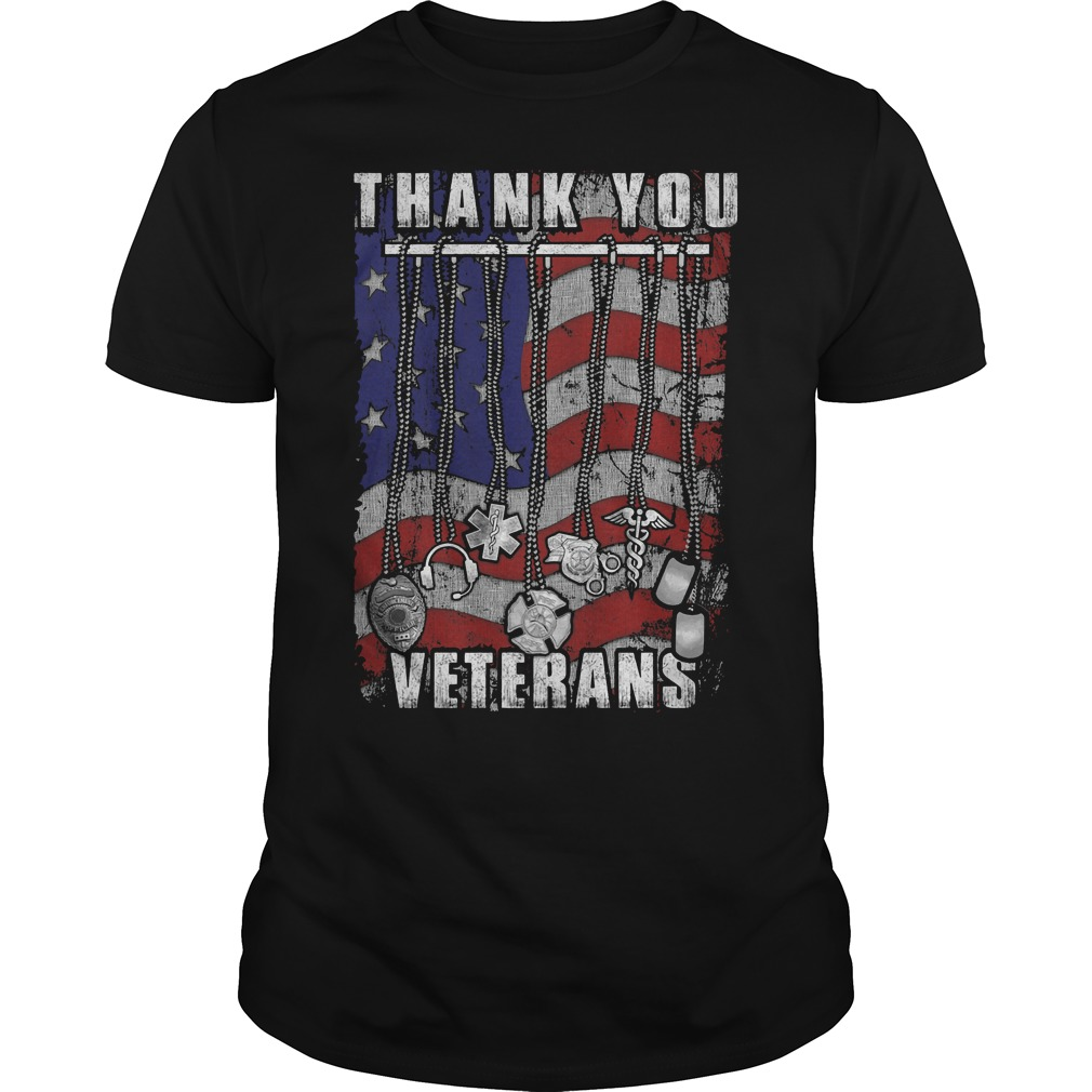 Thank You Veterans America Flag T Shirt