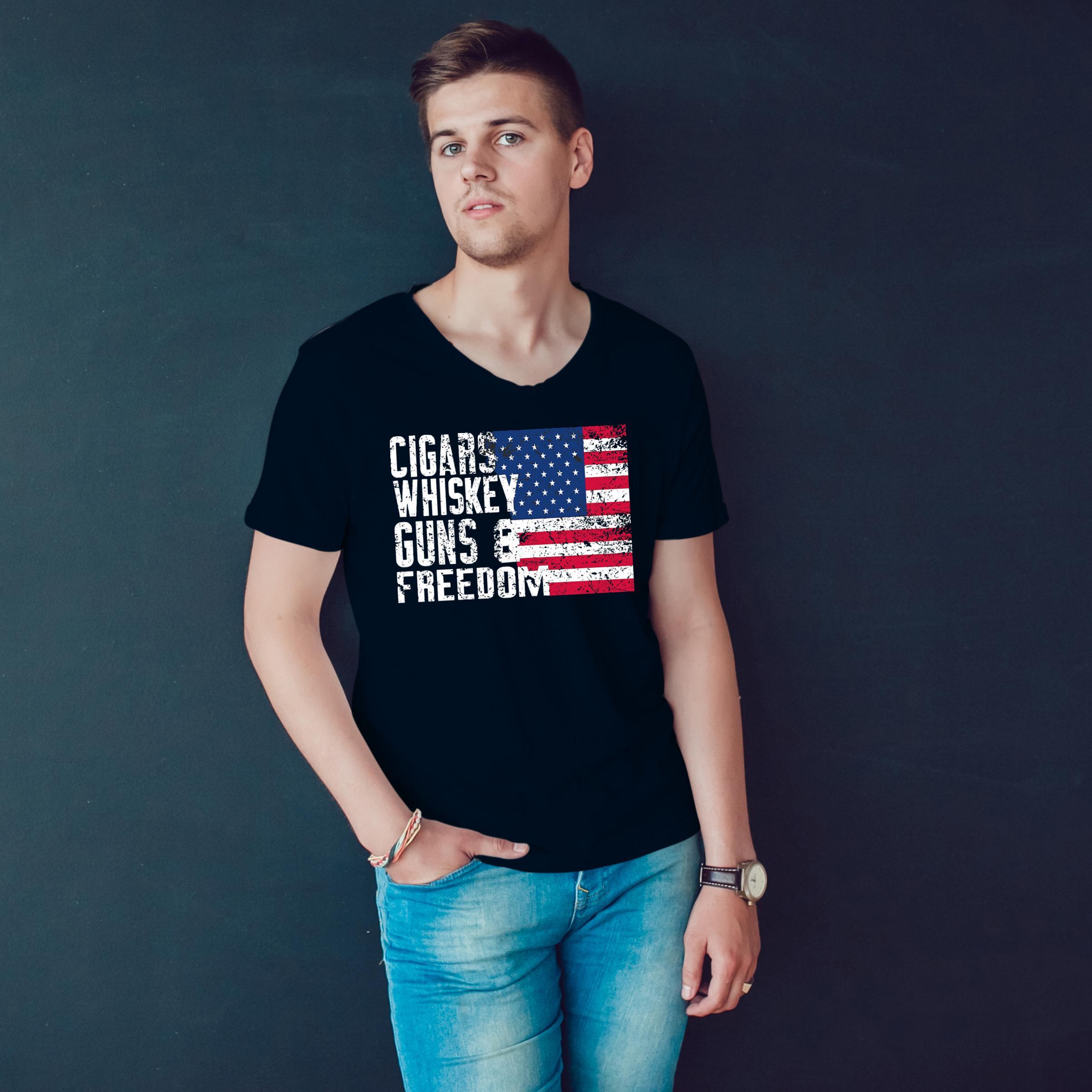 America Cigars Whiskey Guns And Freedom T Shirt