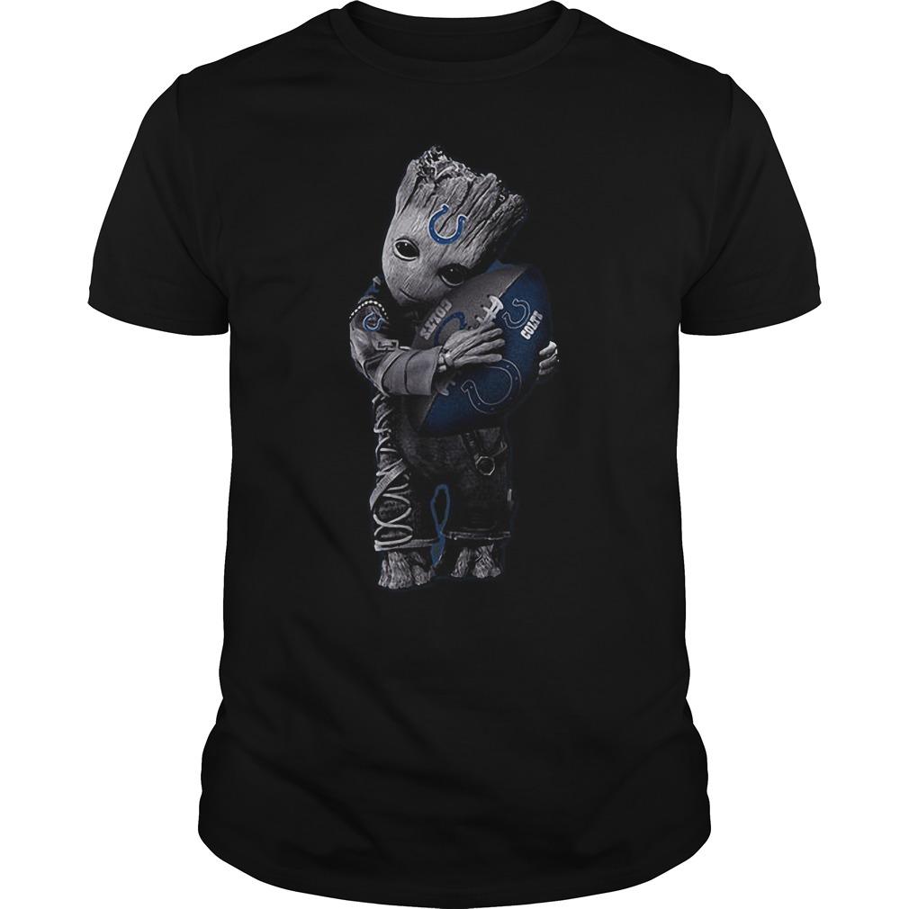 Baby Groot Hug Indianapolis Colts Football NFL T-Shirt Guys Tee