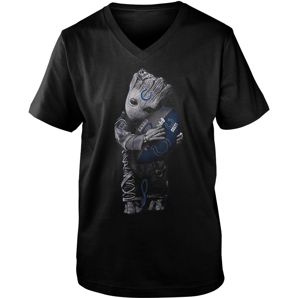 Baby Groot Hug Indianapolis Colts Football NFL T-Shirt Guys V-Neck