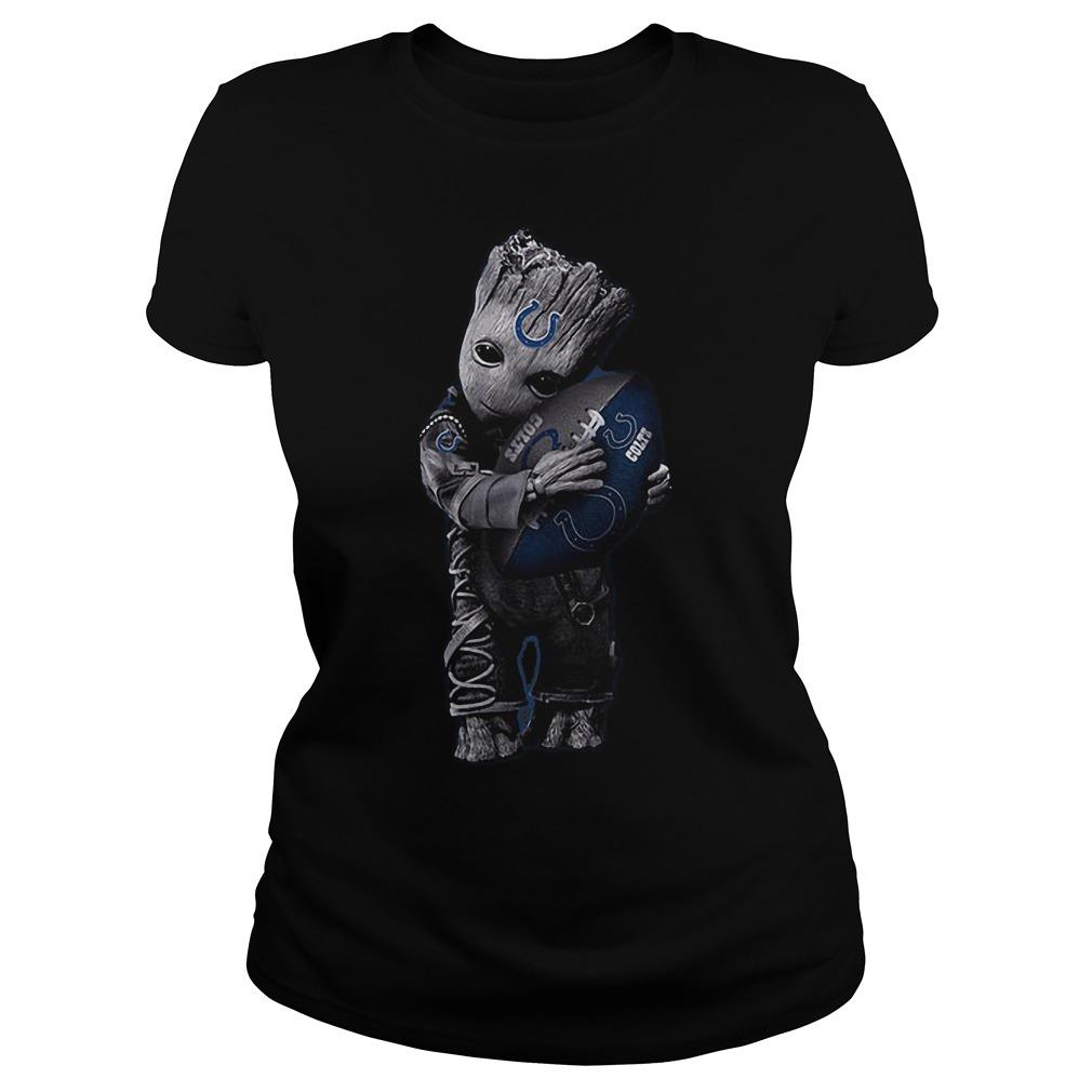 Baby Groot Hug Indianapolis Colts Football NFL T-Shirt Ladies Tee
