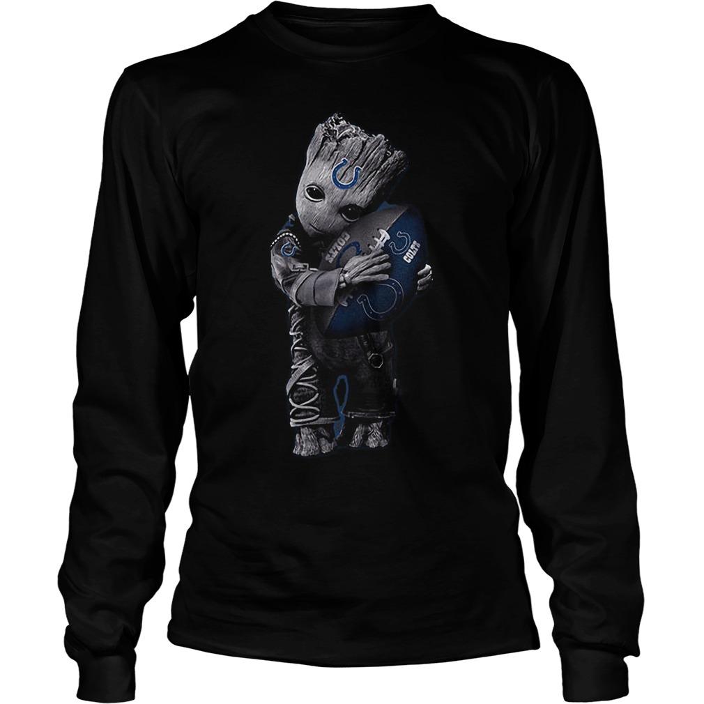 Baby Groot Hug Indianapolis Colts Football NFL T-Shirt Unisex Longsleeve Tee
