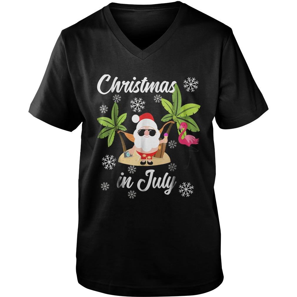 Christmas In July Flamingo And Hawaiian Lover T-Shirt Guys V-Neck