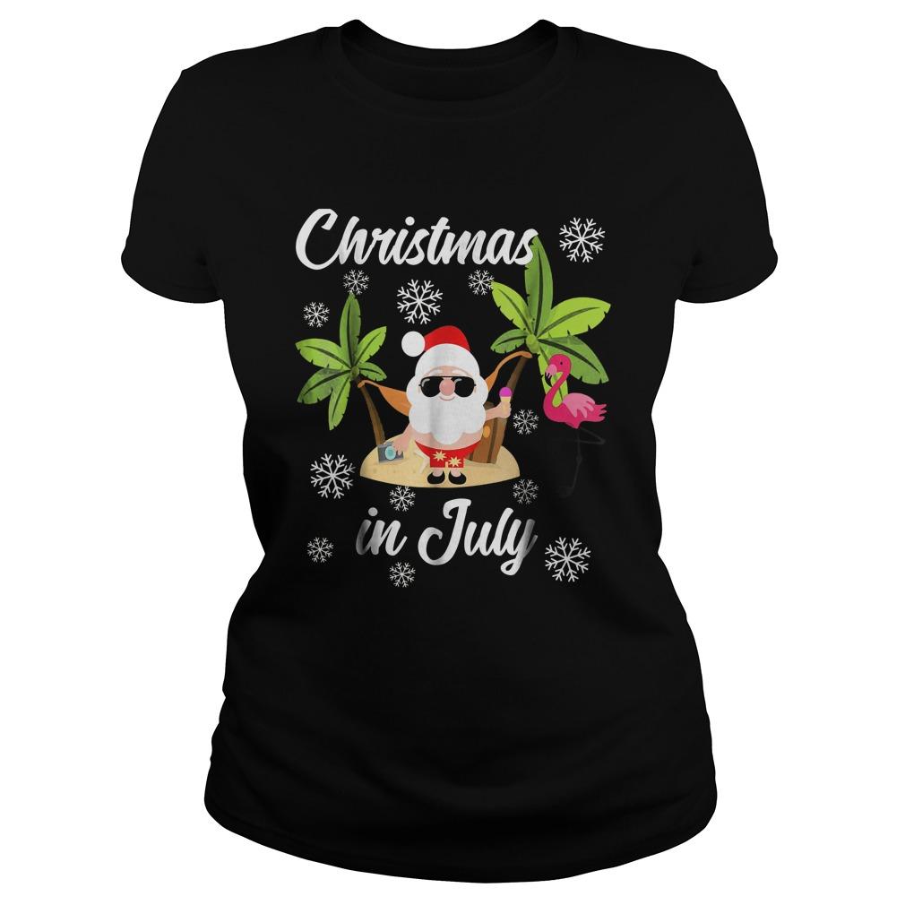 Christmas In July Flamingo And Hawaiian Lover T-Shirt Ladies Tee