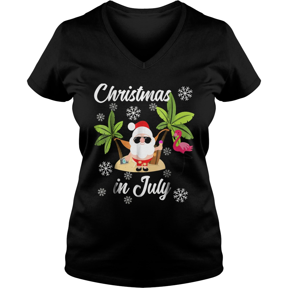 Christmas In July Flamingo And Hawaiian Lover T-Shirt Ladies V-Neck