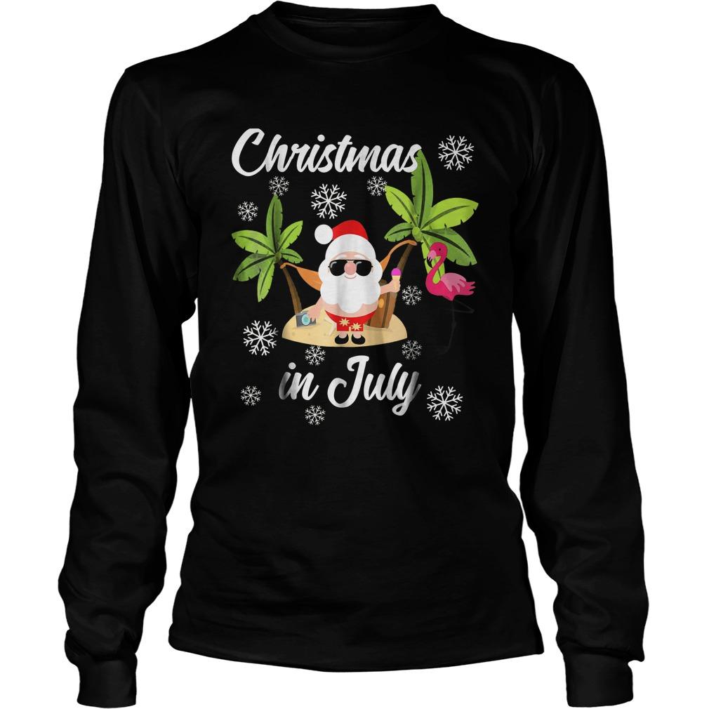 Christmas In July Flamingo And Hawaiian Lover T-Shirt Unisex Longsleeve Tee