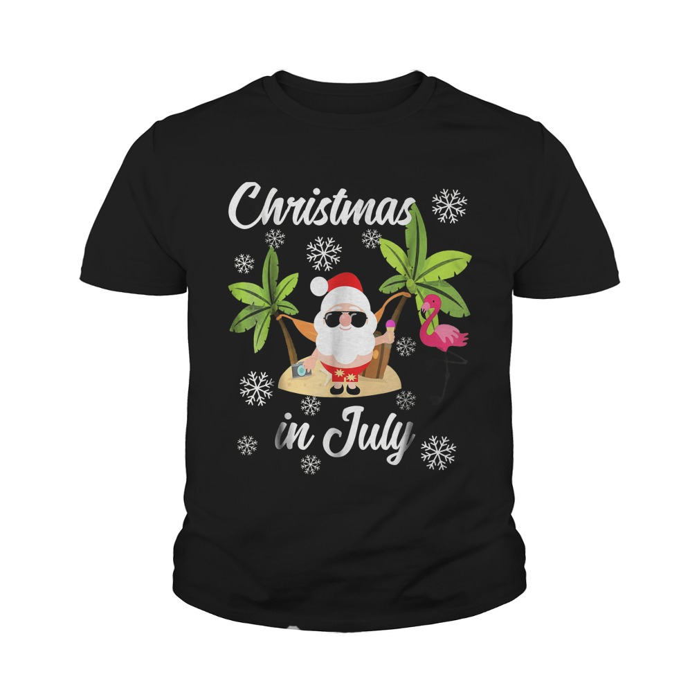 Christmas In July Flamingo And Hawaiian Lover T-Shirt Youth Tee