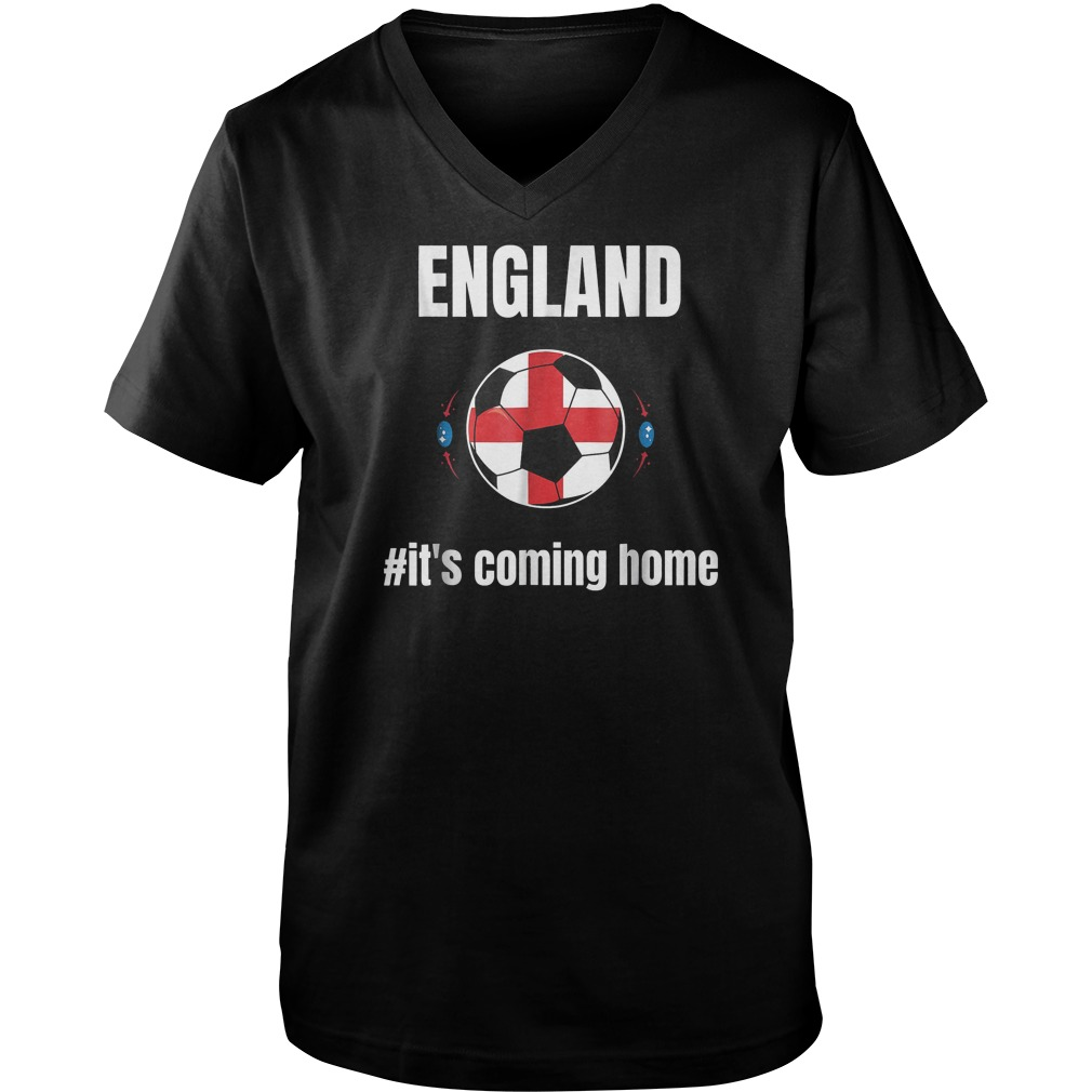 England Soccer It's Coming Home World Cup 2018 T-Shirt Guys V-Neck