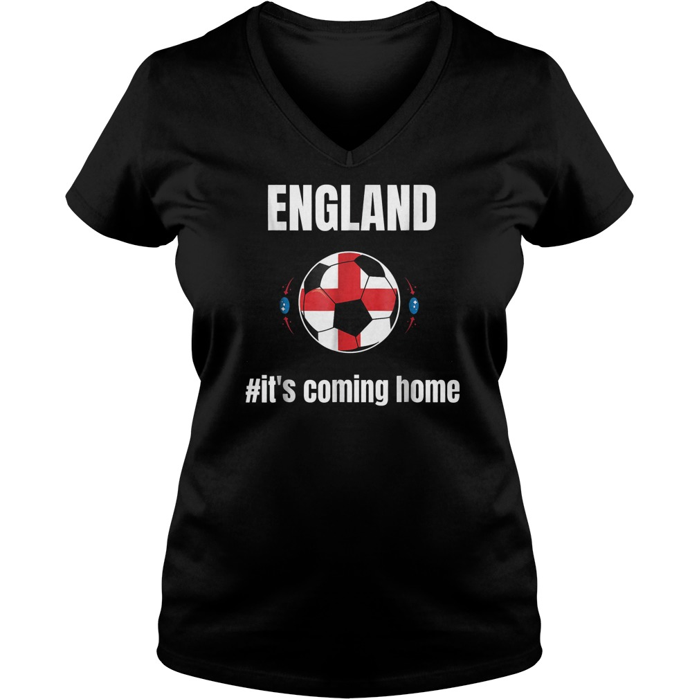 England Soccer It's Coming Home World Cup 2018 T-Shirt Ladies V-Neck