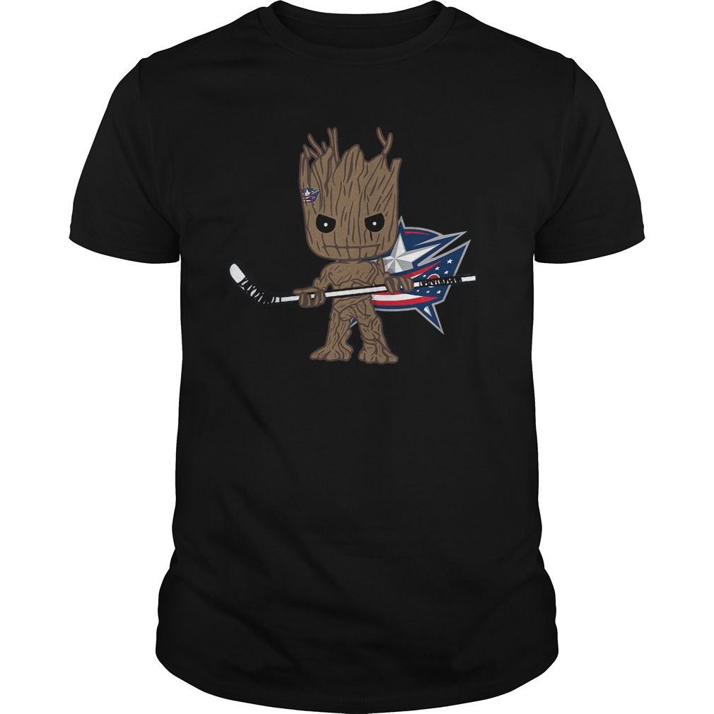 Groot I Am Ice Hockey Player Team Columbus Blue Jackets T-Shirt Guys Tee
