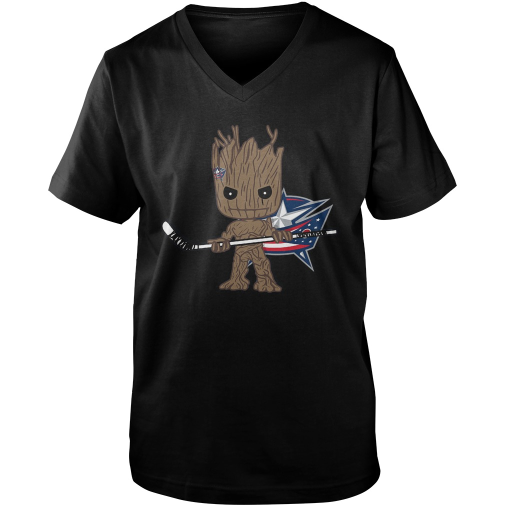 Groot I Am Ice Hockey Player Team Columbus Blue Jackets T-Shirt Guys V-Neck