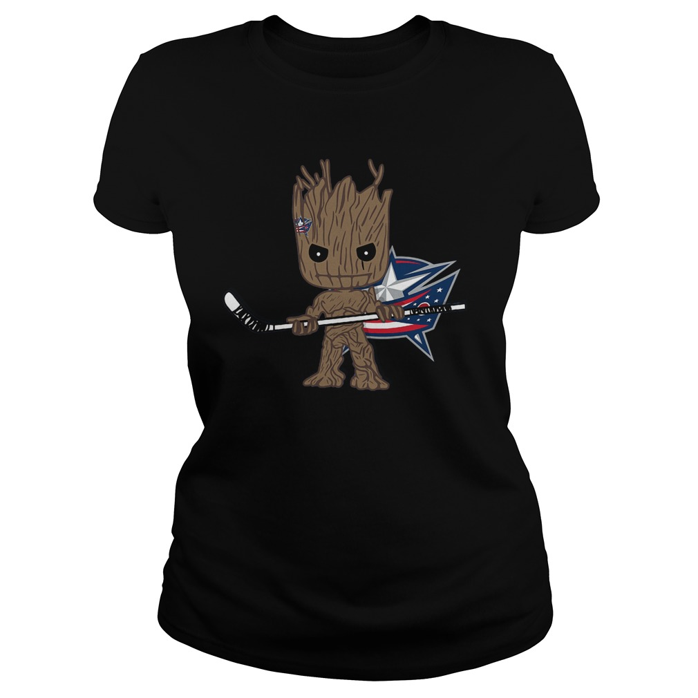 Groot I Am Ice Hockey Player Team Columbus Blue Jackets T-Shirt Ladies Tee