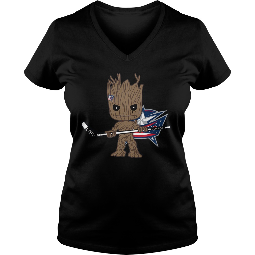 Groot I Am Ice Hockey Player Team Columbus Blue Jackets T-Shirt Ladies V-Neck