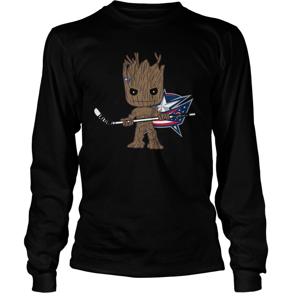 Groot I Am Ice Hockey Player Team Columbus Blue Jackets T-Shirt Unisex Longsleeve Tee