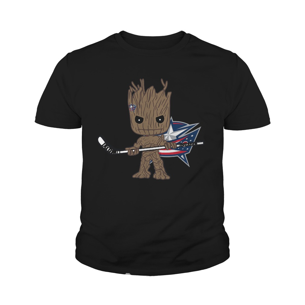 Groot I Am Ice Hockey Player Team Columbus Blue Jackets T-Shirt Youth Tee