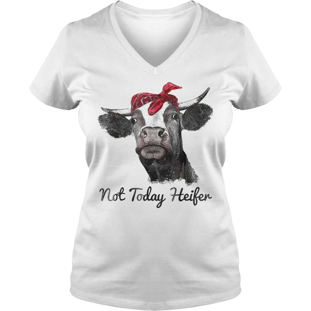 Heifer Cute Funny Not Today T-Shirt Ladies V-Neck