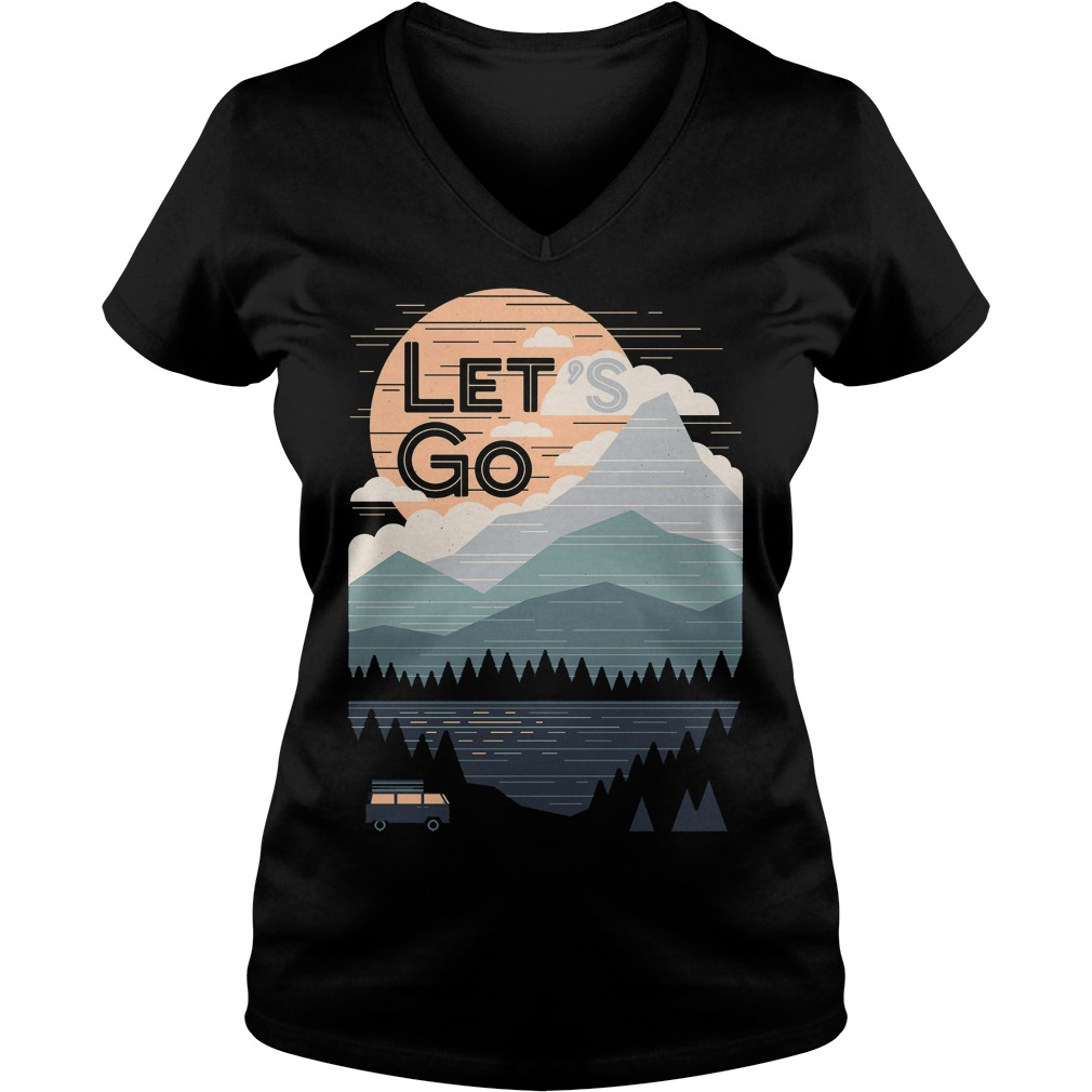 Let's Go With Mountain T-Shirt Ladies V-Neck