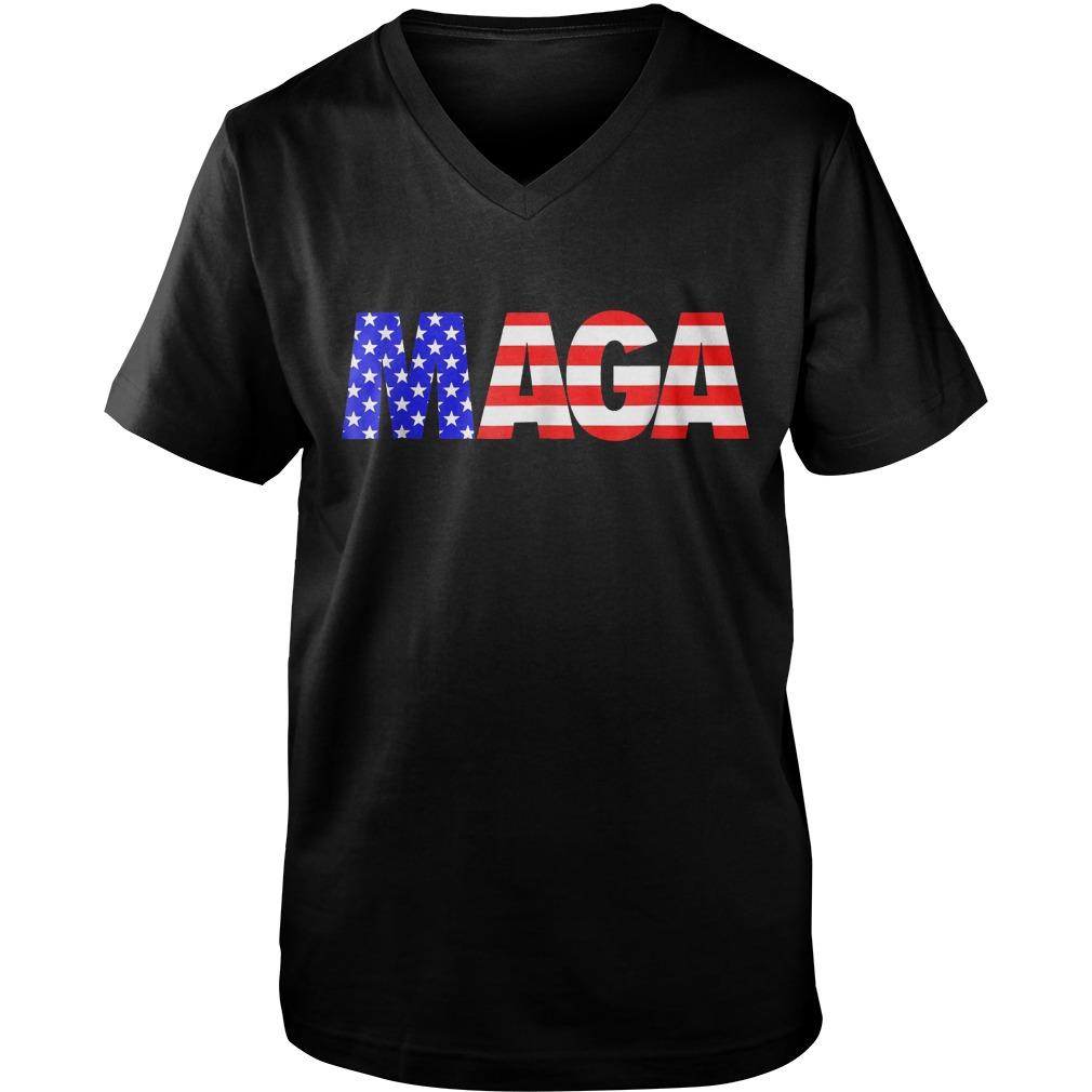 Maga America First Trump 2020 Republican USA Flag T-Shirt Guys V-Neck