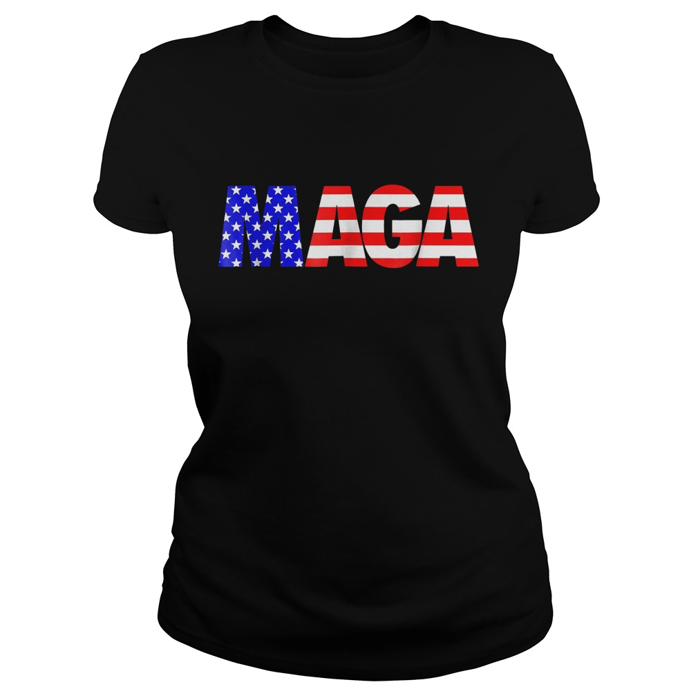 Maga America First Trump 2020 Republican USA Flag T-Shirt Ladies Tee
