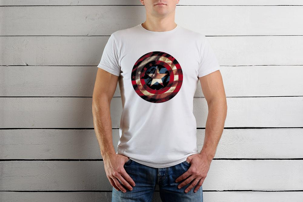 Marvel Captain America Avengers Shield Flag T Shirt