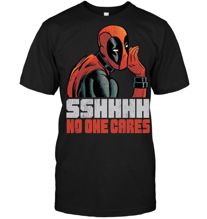 Marvel Deadpool Sshhhh No One Cares T Shirt
