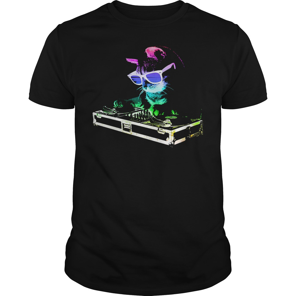 Rainbow Dj Kitty House Cat T Shirt Guys Tee.jpg