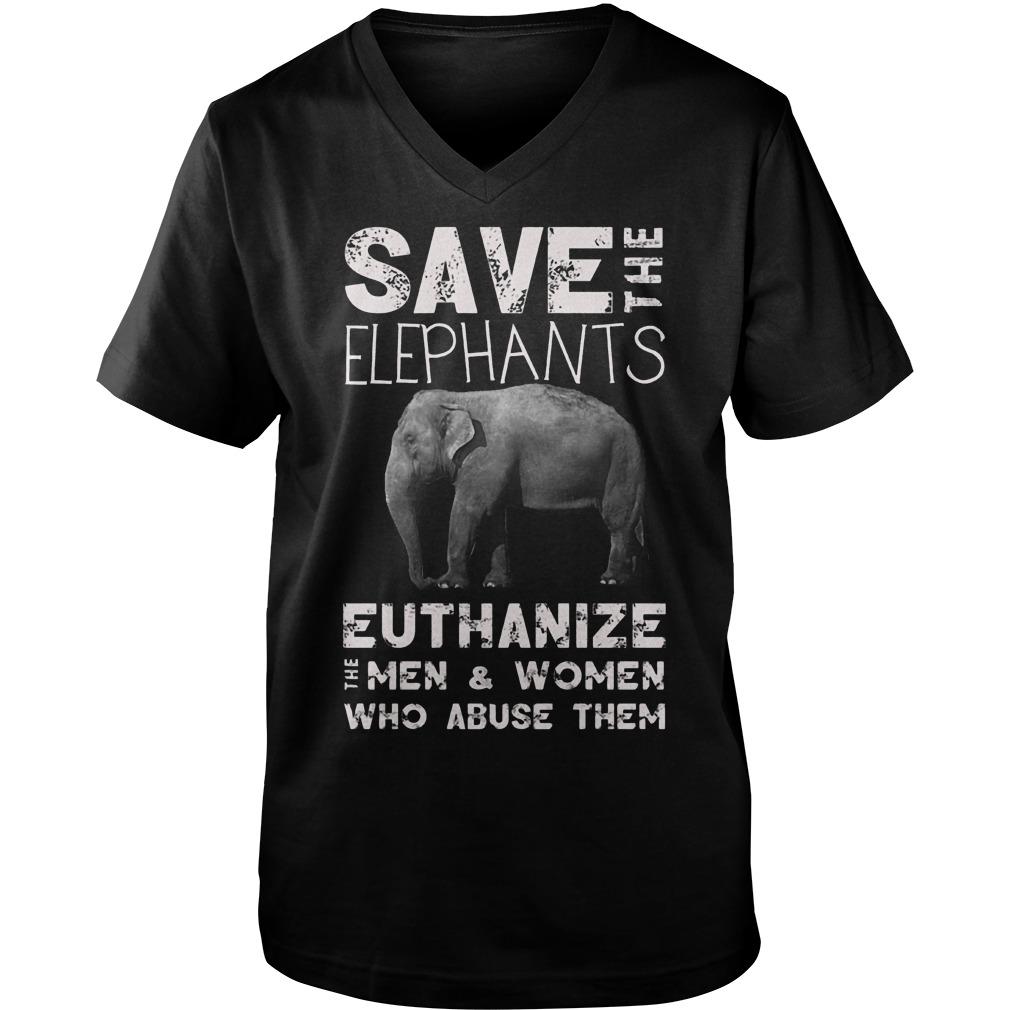 Save The Elephants Euthanize T-Shirt Guys V-Neck