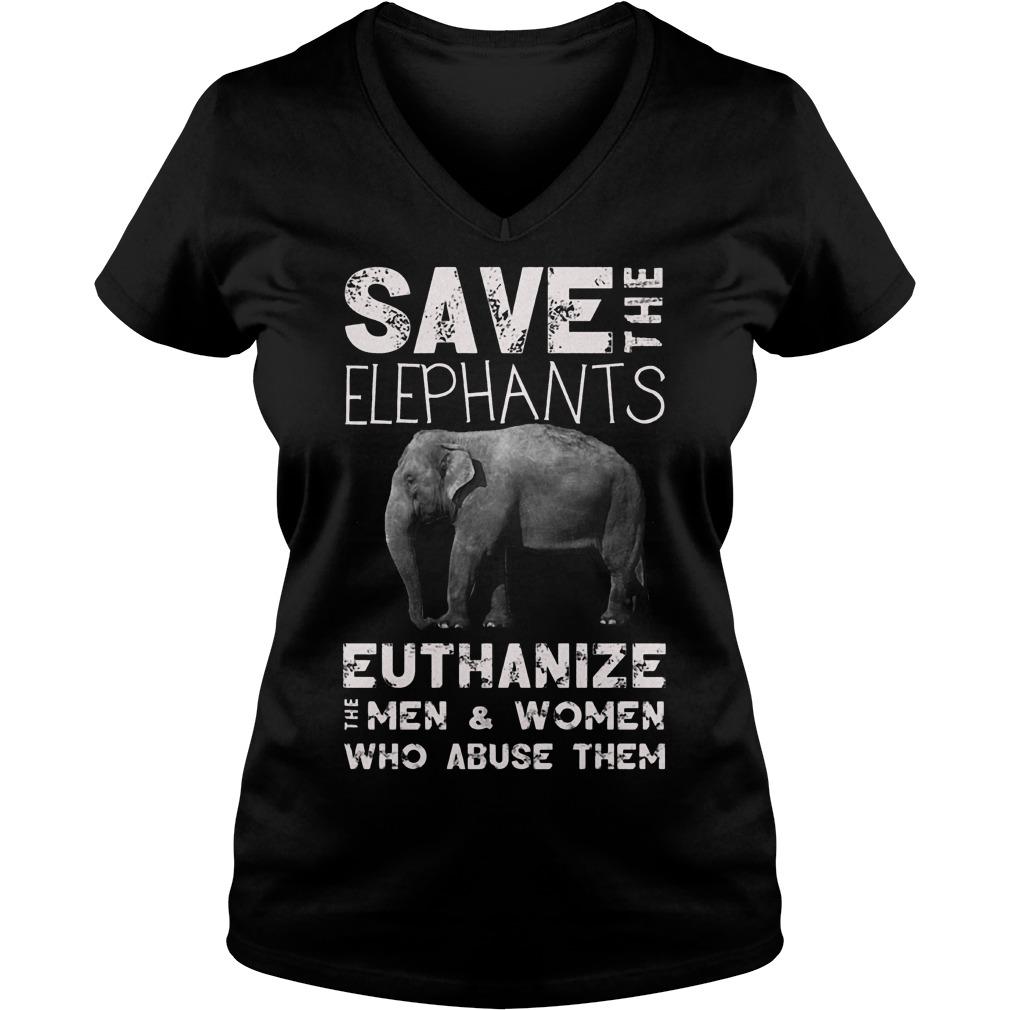 Save The Elephants Euthanize T-Shirt Ladies V-Neck