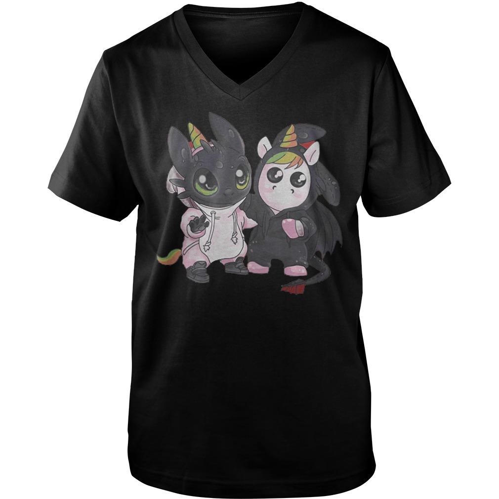 Toothless And Unicorn T-Shirt Guys V-Neck